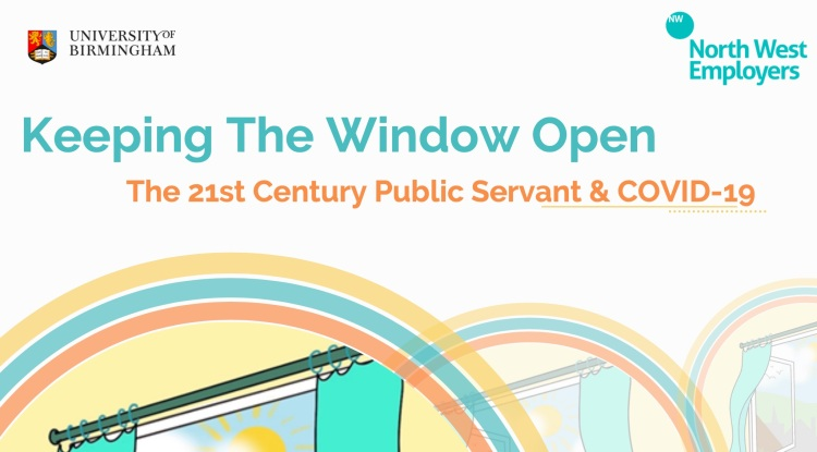 the cover of the report - keepimg the windoes open, with an illustration of an open window and logos from University of Birmingham and North West Employers